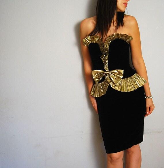 vintage black VELVET dress / strapless GOLD fan party dress