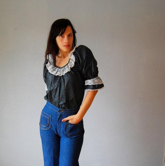 polka DOT blouse / huge puff sleeves knit blouse