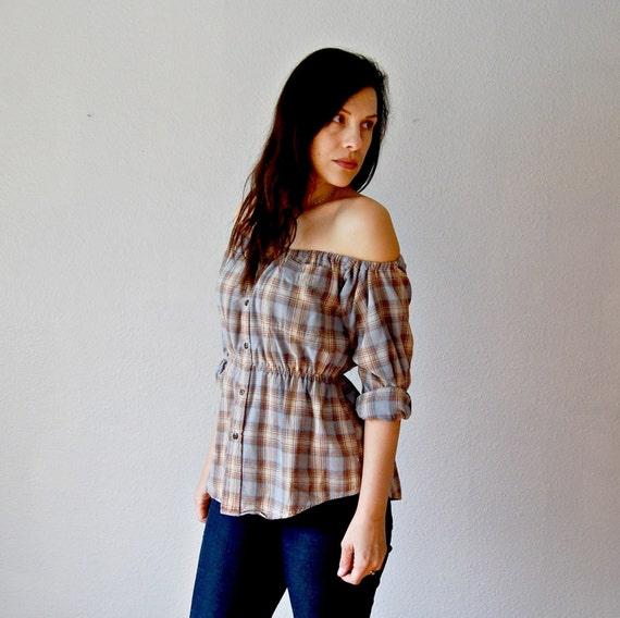 vintage reconstructed FLANNEL  / off shoulder GRUNGE blouse