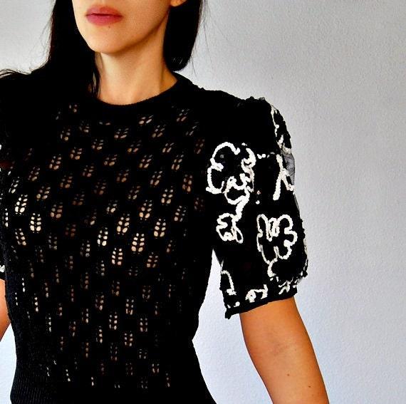 vintage 1980s sheer TROPHY puff sleeves blouse