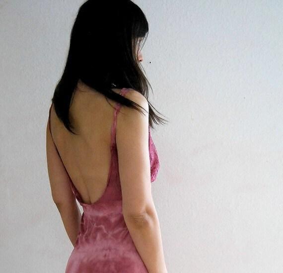 vintage OPEN BACK marbelled DYED slip dress