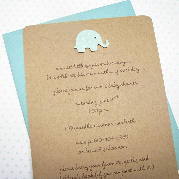 elephant boy baby shower invitations 100 recycled kraft stock