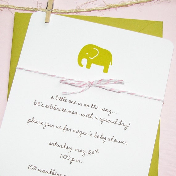 girls baby shower invite chartreuse elephant, pink divine twine, heavy cotton cardstock, set of 8