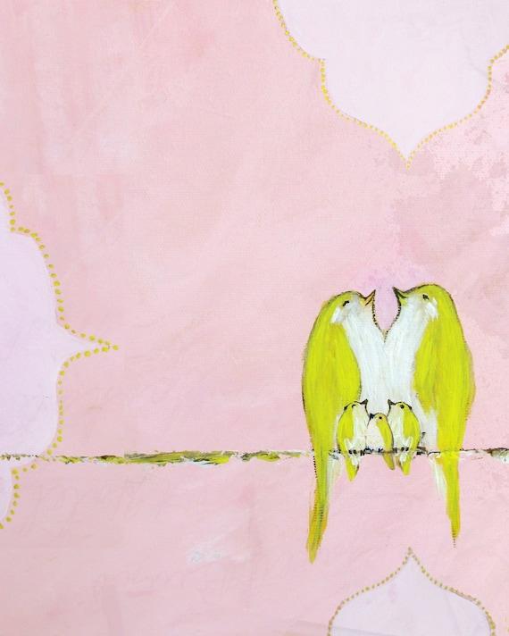 Sweet Strawberry Creme Sky (Art Print of bird family with three baby birds)