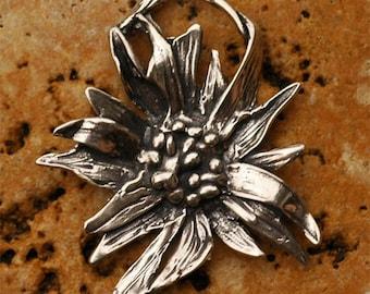 Chrysanthemum Flower Pendant in Sterling Silver