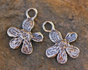 Two Buttercup Flower Charms in Sterling Silver 176s