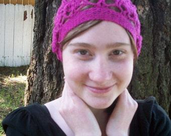 Fuchsia hot pink wool trilobite tam lace beret