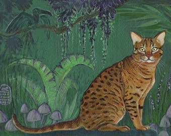 Spotted Cat in the Jungle, Bengel, Ocicat, print of an original painting