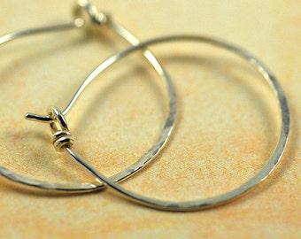 Sterling Silver Hammered Hoop Earrings Handmade - 1 inch diameter
