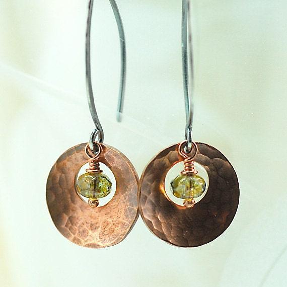 Copper Dangle Earrings Hammered Disks & Silver Earwires with Green Czech Glass, Long Dangle Earrings