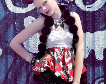 Japanese Fashion Harajuku Decora Girl KPop Kawaii KPop Bubble Top in Vintage Micky Mouse by Janice Louise Miller