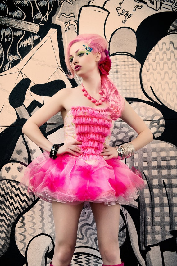 Harajuku Japanese Fashion KPop Fairy Kei Strapless Bustier Prom Dress in Cotton Candy Pink by Janice Louise Miller