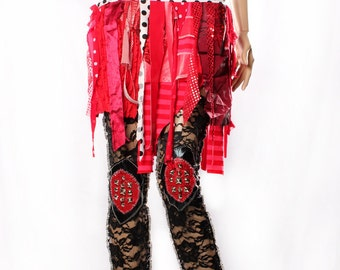 Red Tattered Mini Skirt Gothic Hippy Boho Shimmy Colorful carnival stripes Witchy black white polka dot stripes Small