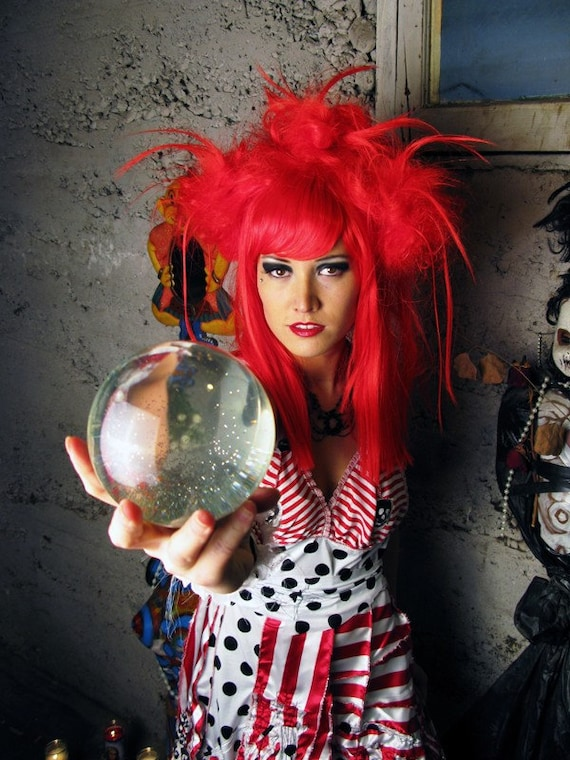 Halloween Wig Costume Party Bright Red Fortune Tellers by hair nurse LANA GUERRA blood red fire