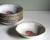 Vintage Fruit Bowl, Dessert Bowl, Hutschenreuther Dundee Rose China Red White