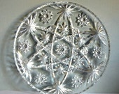 Vintage Serving Tray Anchor Hocking Prescut 13.5 Inch Pressed Glass Christmas Party