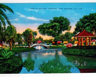 1940s Linen Postcard New Orleans Metairie Cemetery Blue Green Lake with Bridge Vintage Ephemera E.C. Kropp Supplies Retro Collectibles