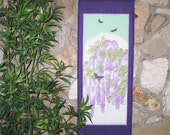 Reserved for Mirandawinter7 Wisteria and Butterflies Scroll Size Japanese Wall Hanging Quilt