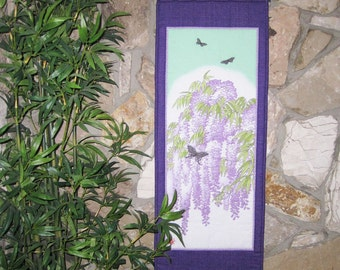 Wisteria and Butterflies Scroll Size Japanese Wall Hanging Quilt