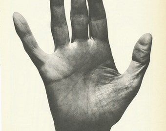 Vintage Palmistry Illustrated Book Pages Set of 4 Hands Palms 1960s Plates