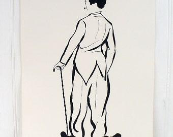 Vintage Charlie Chaplin Illustrated Poster Print Number 3 Cadeaux 1972 1970s