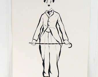Vintage Charlie Chaplin Illustrated Poster Print Number 5 Cadeaux 1972 1970s