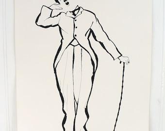 Vintage Charlie Chaplin Illustrated Poster Print Number 6 Cadeaux 1972 1970s