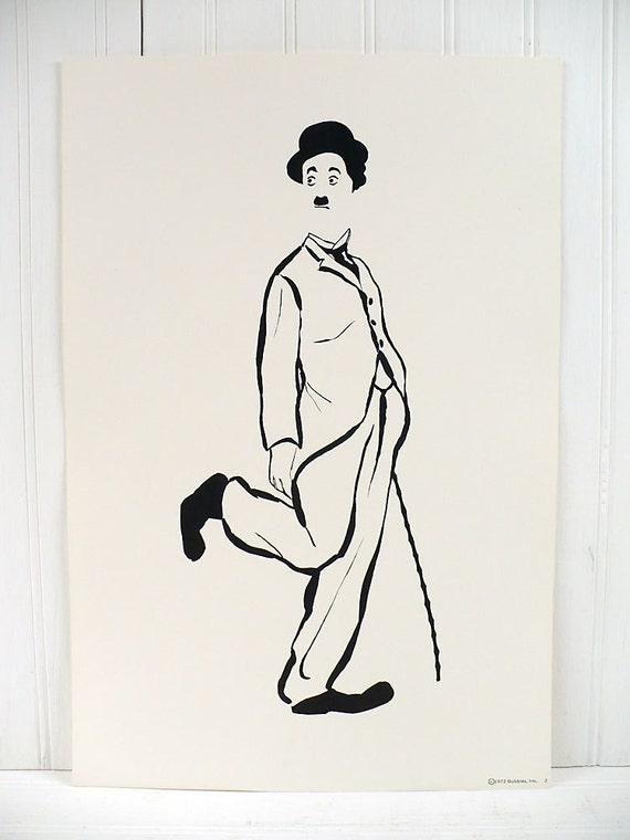 Vintage Charlie Chaplin Illustrated Poster Print Number 2 Cadeaux 1972