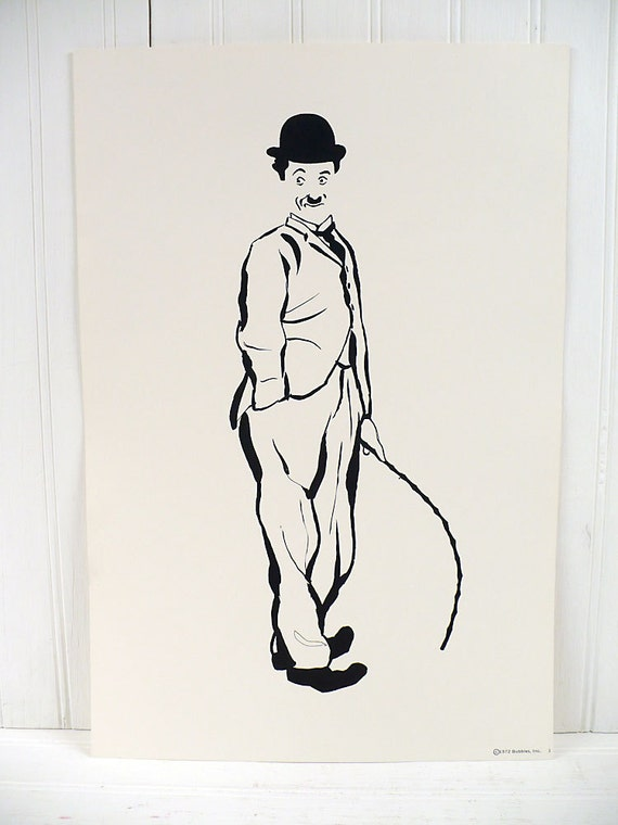 Vintage Charlie Chaplin Illustrated Poster Print Number 1