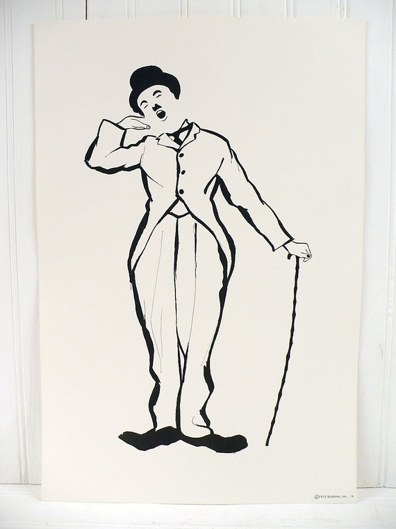 Vintage Charlie Chaplin Illustrated Poster Print Number 6