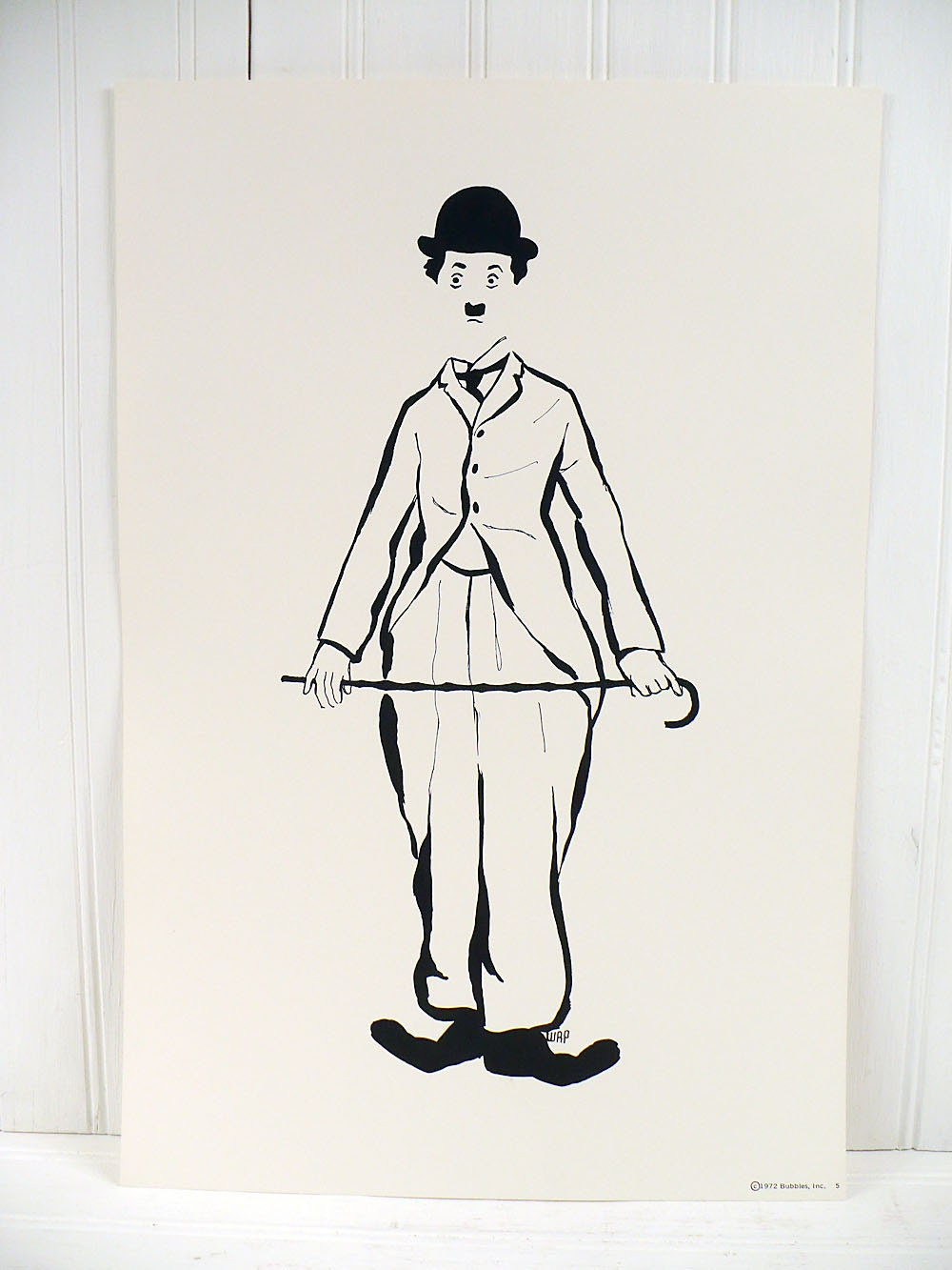 Vintage Charlie Chaplin Illustrated Poster Print Number 5
