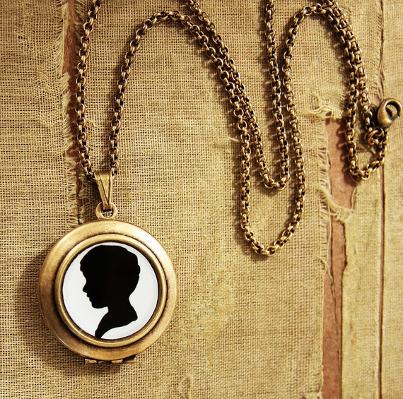 CLEARANCE SALE - Silhouette Art Locket - Black and White Boy Profile Locket Necklace