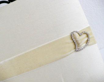 Vintage Photo Album  {Wedding Photograph Album Cream Bridal White Shabby Chic French Style Rhinestone Heart Cabinet Cards}