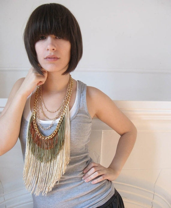 Maximum Fringe Necklace - Champagne, Olive, Rust
