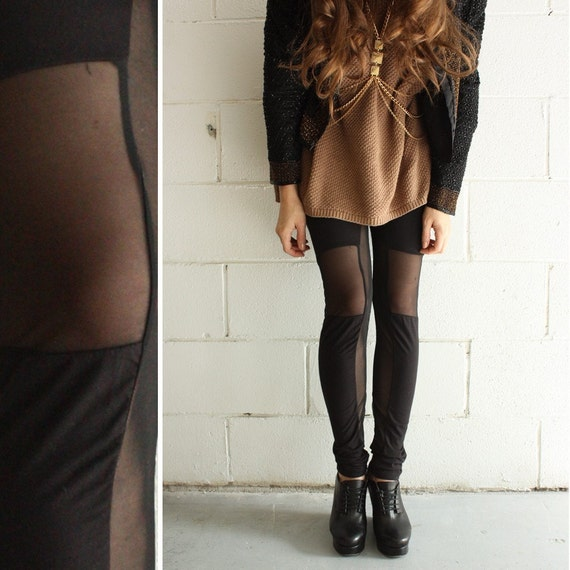 Black Jersey & Mesh Panelled Leggings - size Large - LAST PAIR