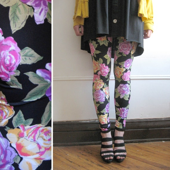 Floral Leggings - Wild Roses - Small - LAST PAIR