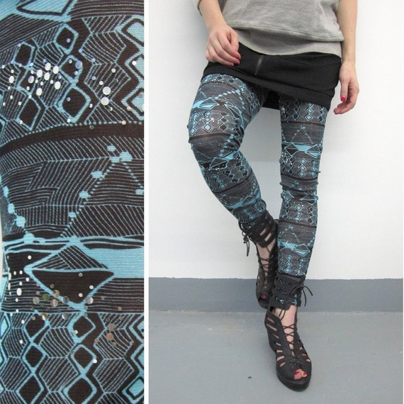 Geometric Leggings, Printed Leggings, Sheer Leggings, Turquoise Leggings, Black Patterned Leggings, Mesh Leggings, Sequinned, Norwegian Wood
