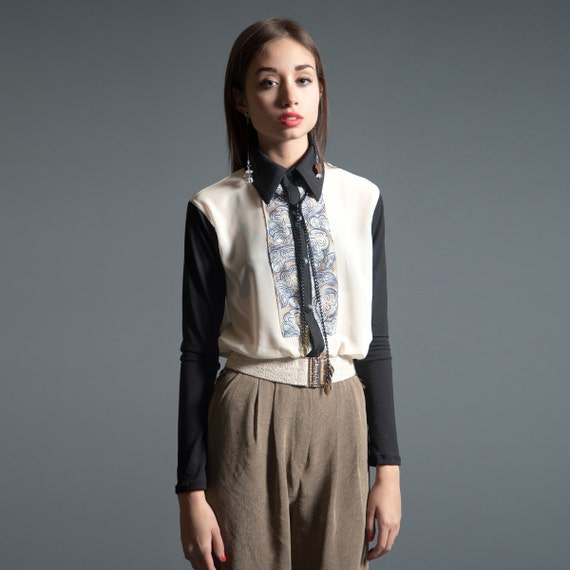 Breeze Blouse - Digitally Printed Silk, Cream Chiffon and Black Sateen - LAST ONE - Size L