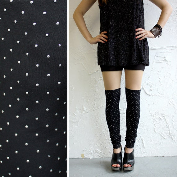 Faux Thigh High Leggings - Black Jersey with Metallic Dots - S, M, L