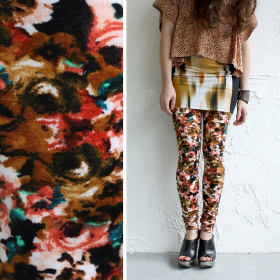 Brushed Jersey Leggings - Rust, Orange, Black and White Abstract Floral - LAST PAIR - S