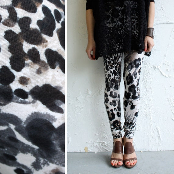Snow Leopard Leggings - Soft Viscose Jersey - LAST PAIR - L