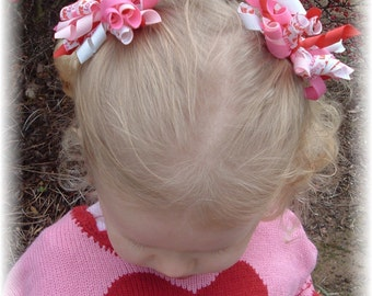 Valentines Day Pair Pig Tail Korker Hair Bows Red Pink Love Hairbows Clips Barrettes Infant Toddler Girls Baby