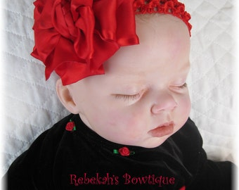 red baby headband, Valentines Day hair bow, Christmas baby headband, infant headbands, flower headband, hair bows for girls, little girl bow