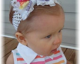 white baby headband, korker headband, spring baby headband, Easter infant headbands, little girl hair bows, hair bows for girls, newborn,