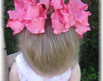 custom pig tail bows, custom hair bows, hair accessories for girls, pig tail hair clips, double ruffle hair clips, hair bows for girls, baby