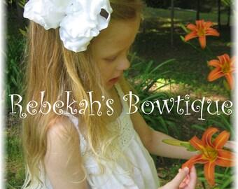 Double Ruffle Hair Bow, Jumbo hair bows, baptism hair bow, Large hair bows, baby hair clips, toddler hair clips, pageant wear, hair bows