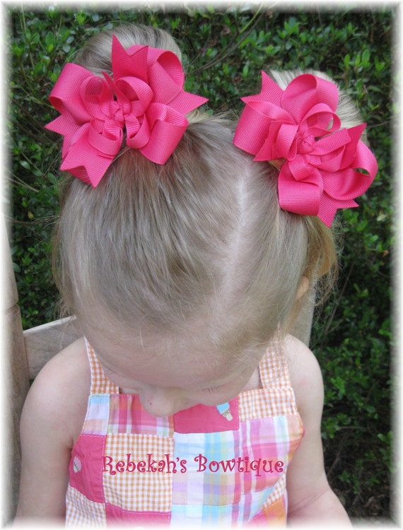 Pig Tail bows, pink baby hair bows, hair clips, pink hair clips, unique hair clips, hair bows for girls, hair clips for toddlers, hairbows