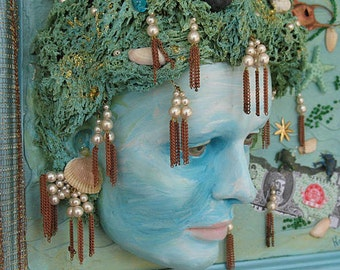 Mannequin Head Art THE PEARL DIVER   Weird mixed Media Wall Art  Price Reduced