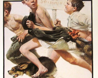 """1977 Large Norman Rockwell Book Plate """"No Swimming"""""""