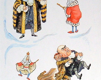"""1958 Children's Picture Colored Book Plate Illustration by E. H. Shepard """"King Hillary and the Beggarman"""""""